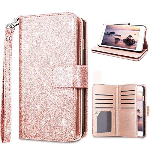 Fingic iPhone 6 Plus Case, iPhone 6s Plus Wallet Case Glitter Sparkle Cover 9 Card Holder PU Leather Detachable Wrist Strap Wallet Case for Women Cover for Apple iPhone 6 Plus/ 6s Plus - Rose Gold ()