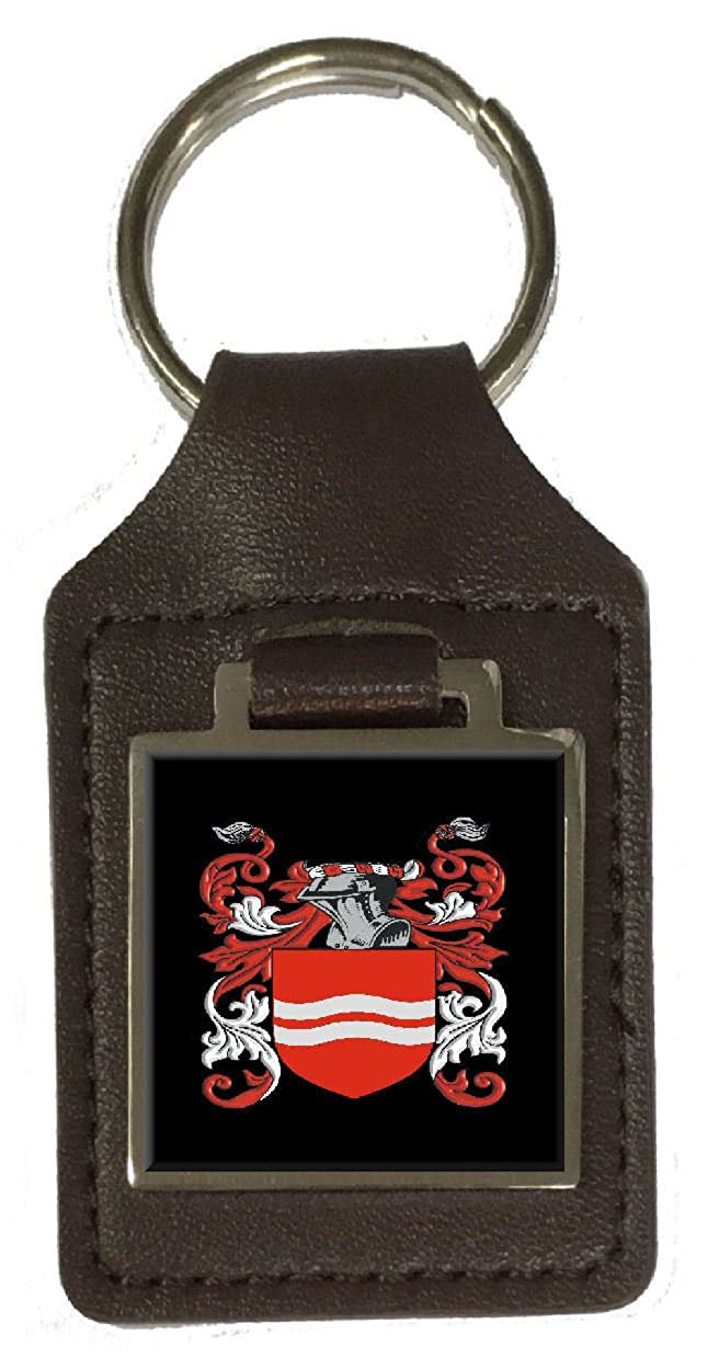 Skinner Family Crest Surname Coat Of Arms Brown Leather Keyring Engraved