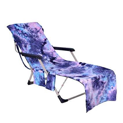 5b4ef78571d3 Beach Chair Cover with Side Pockets,Pool Lounge Chair Covers Towel  Microfiber Chaise Lounges Cover