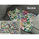 Floral Front & Rear Car Floor Mats - Set Of 4 Flower