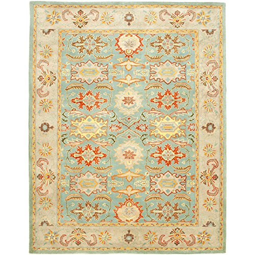 Safavieh Heritage Collection HG734A Handmade Traditional Oriental Light Blue and Ivory Wool Area Rug (12′ x 18′)