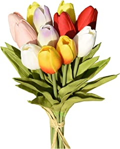 """Mandy's 12pcs Multicolor Artificial Latex Tulip Flowers 14"""" for Party Home Wedding Decoration(vase not Include)"""