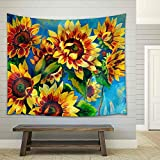 wall26 - Original Oil Painting of Sunflowers on Canvas.Modern Impressionism - Fabric Wall Tapestry Home Decor - 51x60 inches