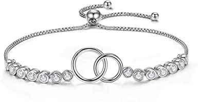 Sterling Silver Two Interlocking Infinity Double Circles Sister Bracelet Mothers Day Jewelry Birthday Gift GDDX Mother Daughter Bracelet