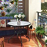 "Tangkula Patio Table 32"" Tempered Glass Top Metal"