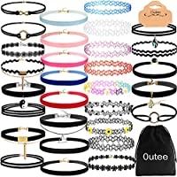 Outee 30 PCS Black Velvet Choker Necklace Set Henna Tattoo Choker Set Velvet Tattoo Ribbon Velvet Choker Set for Teen Girls Women