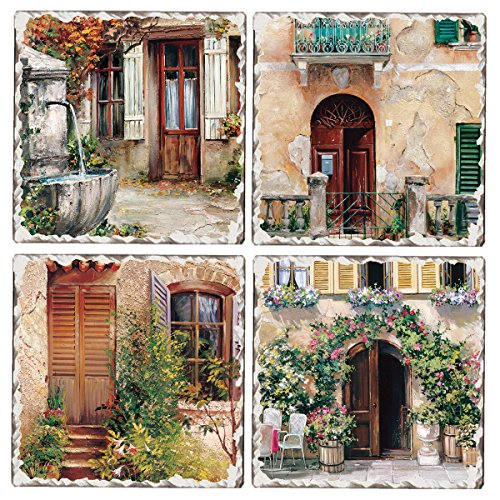 Set Stone Coaster Collection (Cala Home Set of 4 Tumbled Tile Coasters, Tuscan Doorways)