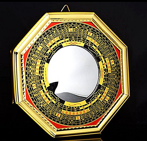 T2C Bagua Luo board concave mirror back Gold Chinese feng shui entrance mirror Goods for powerful Luck & Success