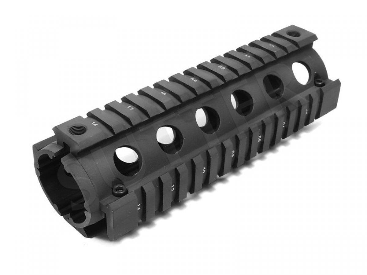 Sistema de guardamanos Quad Rail 170mm - 4x Rieles perfilados de 21 mm - Rieles de montaje para miras telescópicas, RedDot, visores SUTTER