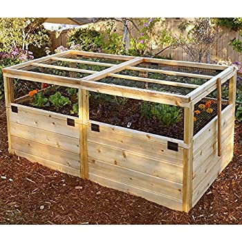 Outdoor Living Today Raised Cedar Garden Bed With Trellis/Lid   6 X 3 Ft.