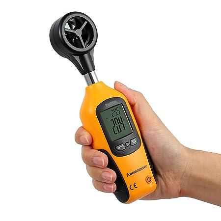 Cadrim Anemómetro Digital Medidor Multifuncional de Velocidad del Viento, Aire y Temperatura, Pantalla LCD de Retroiluminación y Alta Precisión, ...