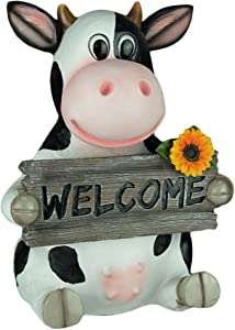 World Of Wonders Resin Outdoor Statues Mary Moo Farm Cow Holding Welcom Sign Entry Decor 9.5 X 13 X 7.5 Inches White