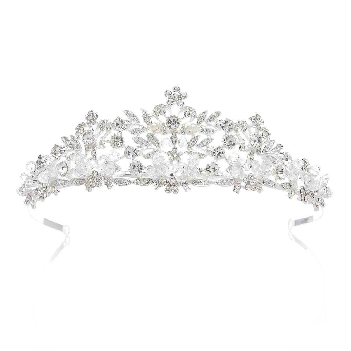 SWEETV Magnifique Cristal Princesse Couronne Diadème Accessoire de Costume pour Mariage Soirée Fête, Argent SVDHG1609C12