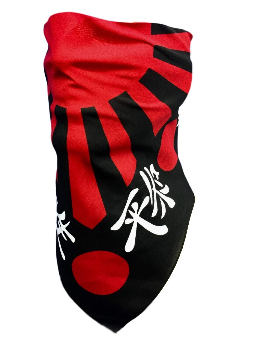Reversible Japanese Flag Adjustable Reversible Black Red Cotton Triangle Bandana Face Mask