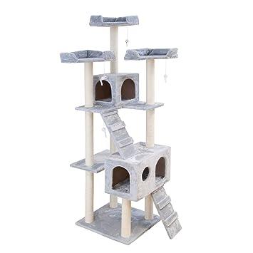 PET Árbol para Gatos rascador Ollie, Juguete Escalador para Animales domésticos, casa para felinos, Altura 186 cm, Gris Claro: Amazon.es: Jardín