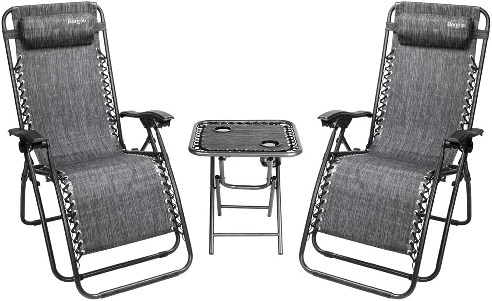 Bonnlo 3 PCS Zero Gravity Chair Patio Chaise Lounge Chairs Outdoor Yard Pool Recliner Folding Lounge Table Chair Set (Grey)