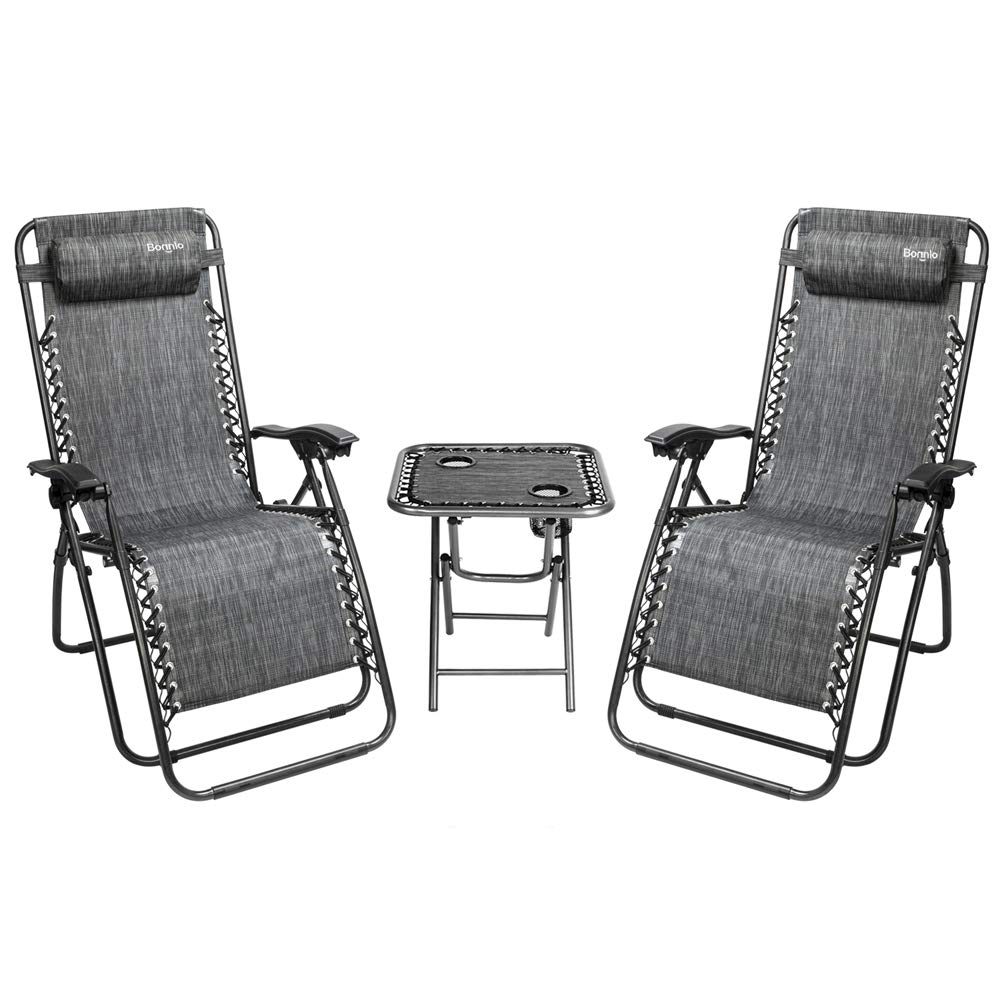 Bonnlo 3 PCS Zero Gravity Chair Patio Chaise Lounge Chairs Outdoor Yard Pool Recliner Folding Lounge Table Chair Set (Grey) by Bonnlo