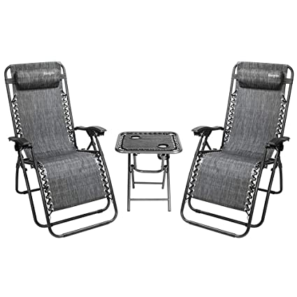 Amazon Com Bonnlo 3 Pcs Zero Gravity Chair Patio Chaise Lounge
