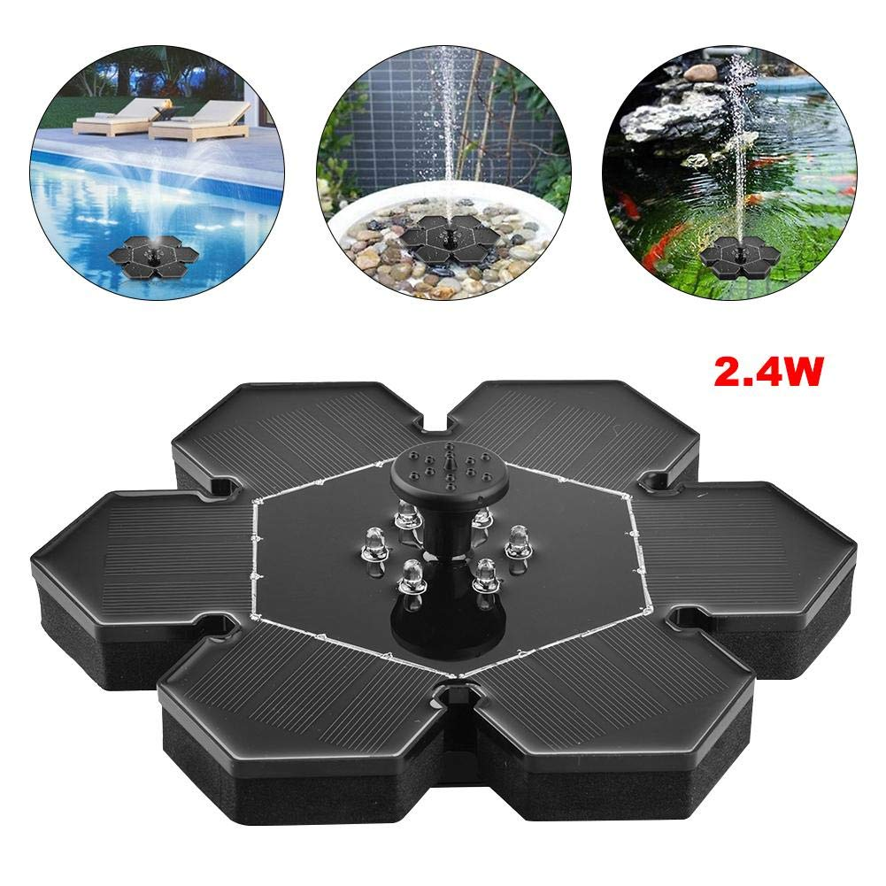 LED 2.4W with Battery Solar Garden Miniature Floating Fountain Solar Water Fountain Pump Outdoor Suspension Round Solar Fountainn