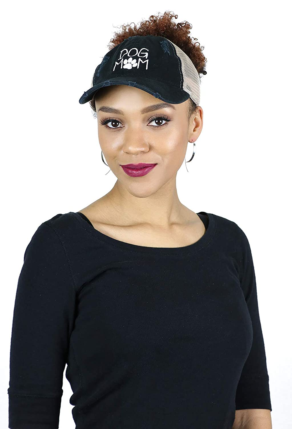 50893a493fcf2b Dog Mom Ponytail Hat Messy Bun Beanie Cute Baseball Cap for Women Dad Hat  Mesh Back Adjustable for Big Heads (Black) at Amazon Women's Clothing store: