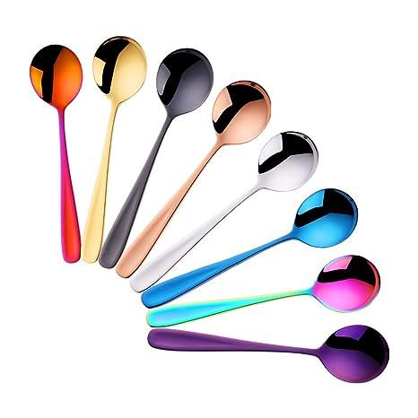 8 colores Cucharas de Postre Acero Inoxidable Sopa de Pastel Cuchara Redonda Cena Vajilla - DoBuy