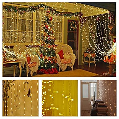 BUDGET & GOOD Waterproof Led Curtain String Lights 19.6ftx9.8ft 600 Led for Christmas Wedding Party Window-Warm White