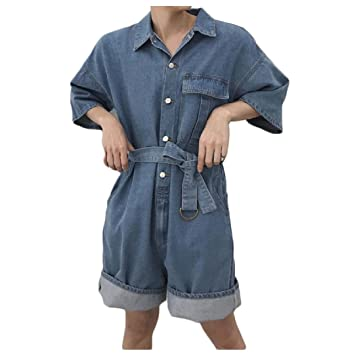 9f40b11a2e Amazon.com  Tootless-Men Shorts Jeans Strappy Loose Fit Pocket Crimping Jumpsuit  Rompers  Clothing