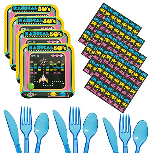 80s Party Supplies For 16 - Plates, Napkins, Cutlery, Tableware Kit Party Pack - Video Arcade Games, Gaming, Gamer Theme Pack - Adults, Girls, Boys, Kids (80s Birthday Ideas)