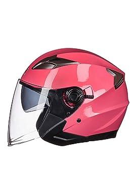 ZYear Casco para Motocicleta Cara Abierta con Doble Lente Protección UV Casco eléctrico para Motocicleta para