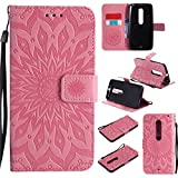 Moto X Pure Edition Case, Enjoy Sunlight Flip Wallet Leather [kickstand] [Sun Flower] Magnetic Protective Cover with Card Slots Detachable Wrist Strap for Moto X Pure Edition / Moto X Style [Pink]