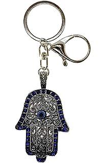 Blue Hamsa Hand Evil Eye Protect Luck Success Key Chain Car Chain Holder Judaca