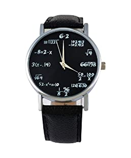 Sourts Lover Girl Artificial Leather Band Math Formula Dial Wrist Quartz Analog Watch 24cm (Black 3)