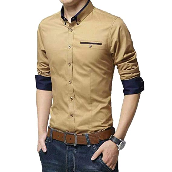 ed4fa9b41f IndoPrimo Men s Cotton Casual Shirt for Men Full Sleeves  Amazon.in   Clothing   Accessories
