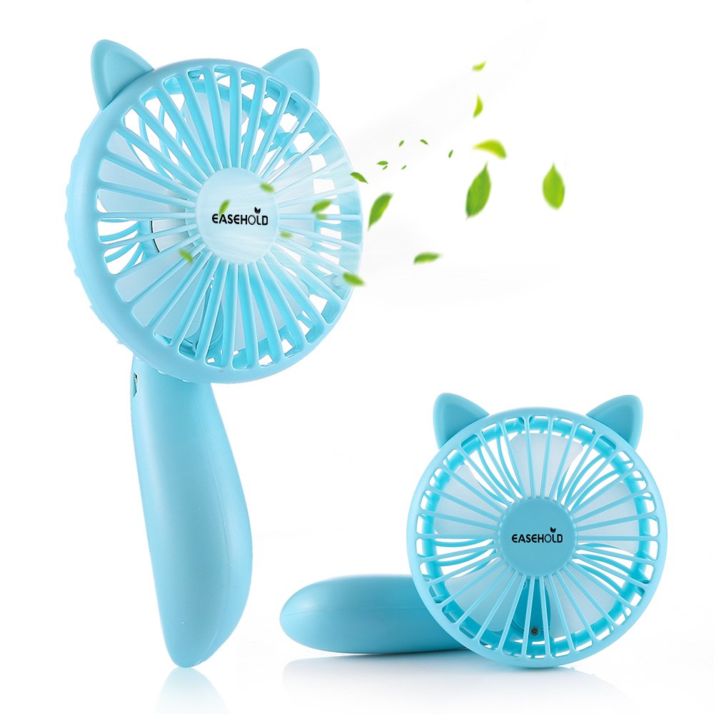 Easehold Mini Handheld Personal Fan Rechargeable Battery Powered Adjustable Table USB Fans Portable Travel Cooler 1200mAh with 3 Speed (Blue)