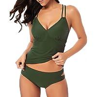 9a77919cea HAIVIDO Women's V Neck Tankini Set Criss Cross Back Tankini Top with Bikini  Bottom Two Piece