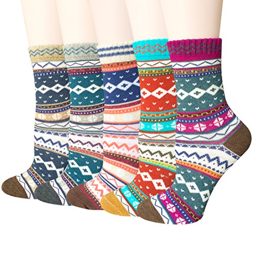5 Pairs Womens Vintage Style Colorful Soft Cotton Casual Crew Socks by Amandir