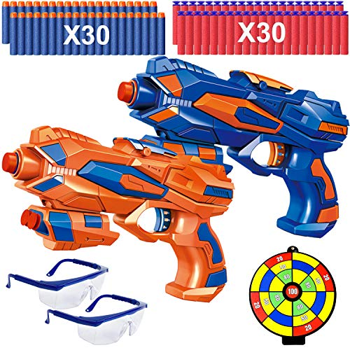 Ausein 2 Pack Blaster Guns, Toy Guns for Kids with 60 Pack Refill Soft Foam Darts and 2 Pairs Protective Glasses, Birthday Gift Hand Gun Toys for Boys 4-9 Years Old