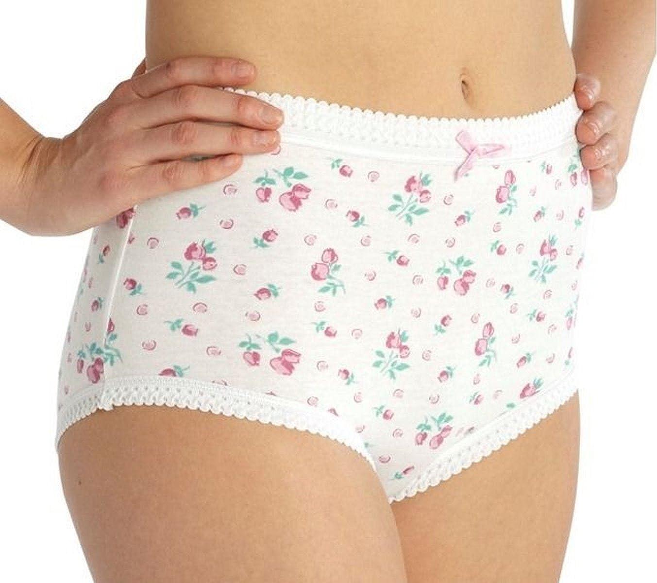 12 Pack Women/'s Floral Design Mama Briefs Underwear Knickers UK Size 20-22