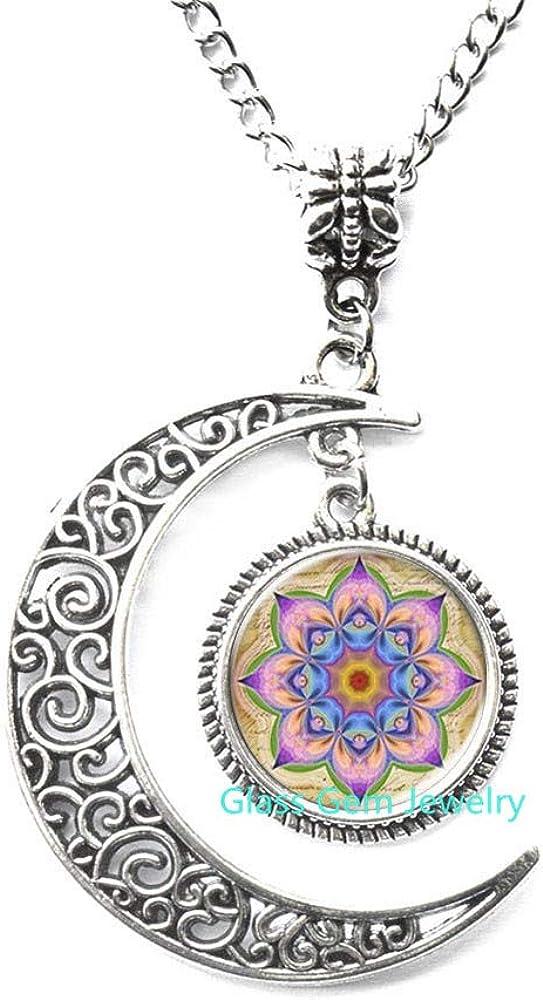 Mandala /& Lotus Flower Glass Pendant