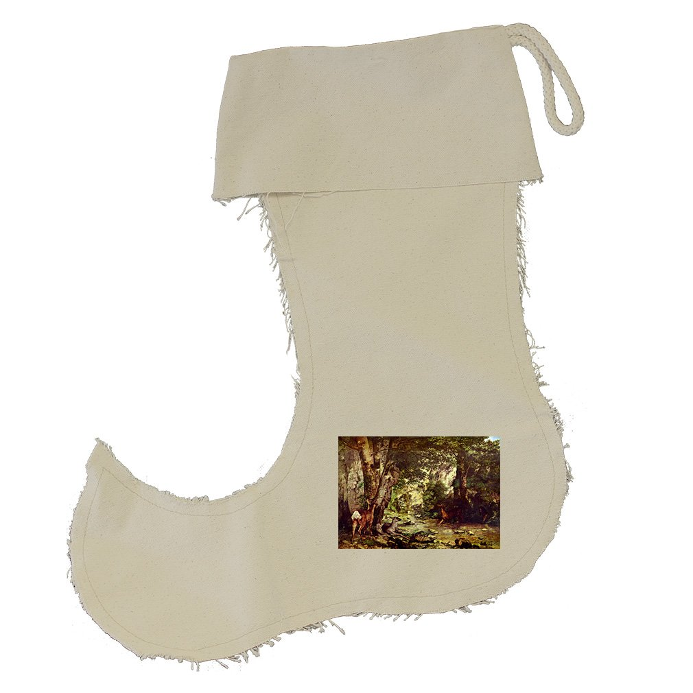 Deer In The Woods (Courbet) Cotton Canvas Stocking Jester - Large