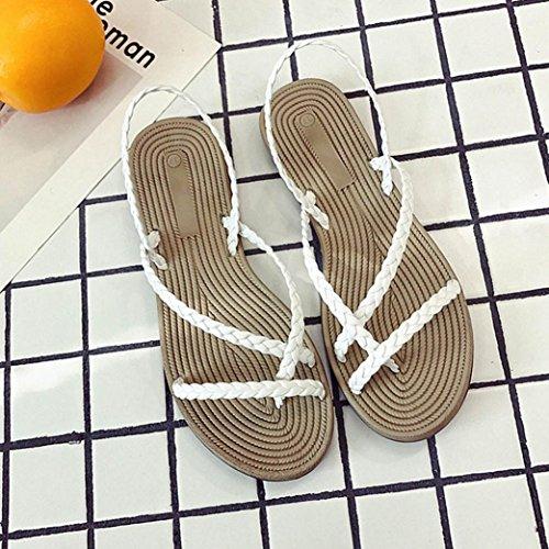 Xmansky Damen Kreuz-Gebunden Schuhe Bandagen Böhmen Freizeit Rückengurt Sandalen Hausschuhe Wohnung mit Schuhe Weiß