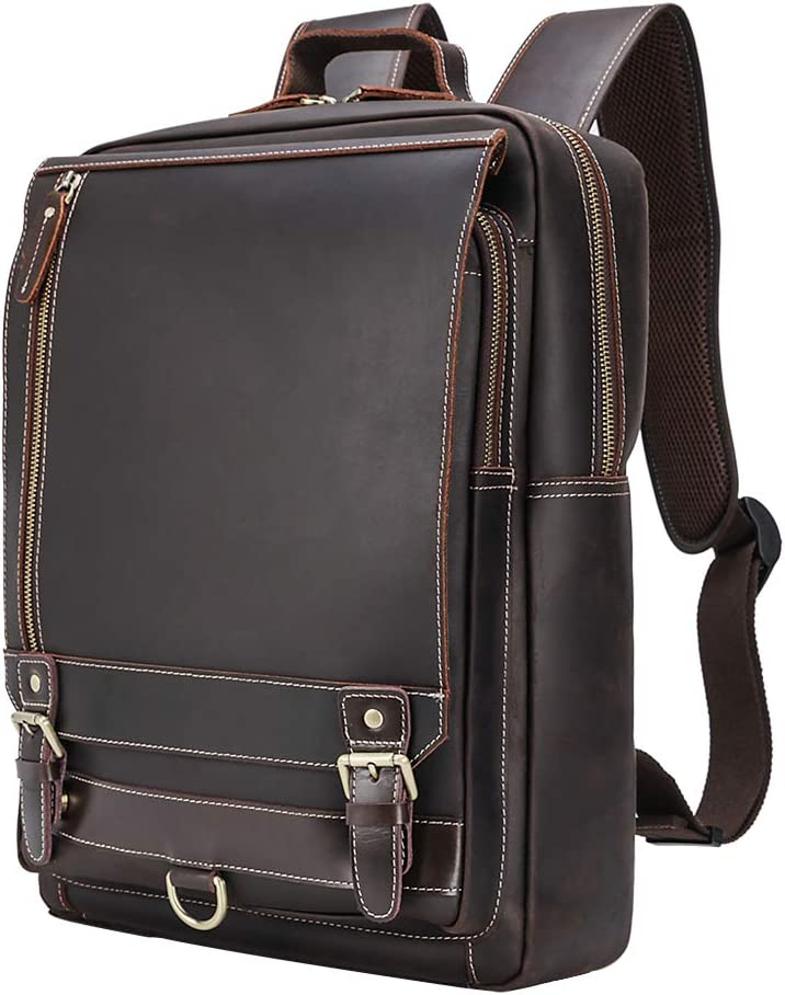 Tiding Leather Backpack Vintage 15.6 Inch Laptop Backpack Business Travel Bag Schoolbag Shoulder Daypack for Men