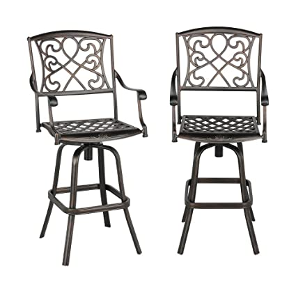 Yaheetech Set of 2 Outdoor Cast Aluminum Patio Chair 360 Degree Swivel Bar  Stool Patio Furniture - Amazon.com: Yaheetech Set Of 2 Outdoor Cast Aluminum Patio Chair 360