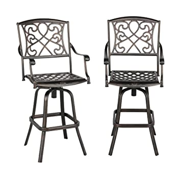 Amazon Com Yaheetech Set Of 2 Outdoor Cast Aluminum Patio Chair 360