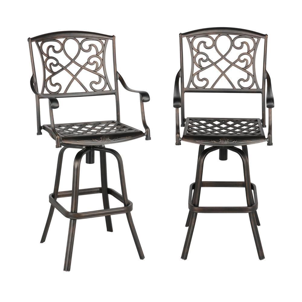 Yaheetech Set of 2 Outdoor Cast Aluminum Patio Chair 360 Degree Swivel Bar Stool Patio Furniture Antique Copper Design
