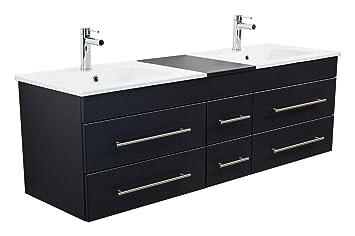 Emotion Meuble salle de bain double vasque Roma XL noir satiné ...