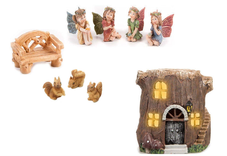 Daurice Fairy Garden Tree Stump House Accessory Set 9 Piece Bundle