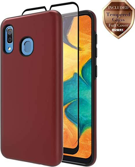 Samsung Galaxy A20 Case with Tempered Glass Screen Protector ,Teayoha Carbon Fiber Scratch Resistant Red Shock Absorption Soft TPU Drawing Protective Cases Cover for Galaxy A20 2 Pack