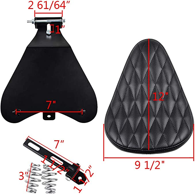 Complete Set of SOLO Driver Seat Cover Pad with Diamond Pattern for Harley Bobber Chopper Custom
