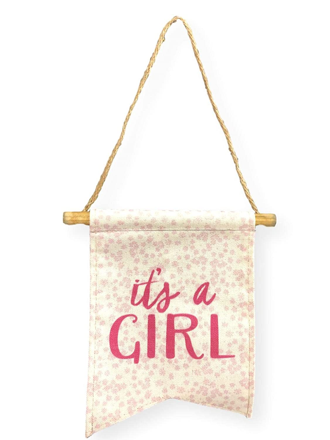 Tag Its a Girl Baby Canvas Banner Pink Lettering Nursery Wall Hanging Baby Shower Supplies Decorations Favors For Girls